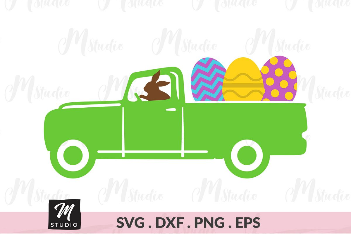 Easter Truck Eggs svg. example image 1