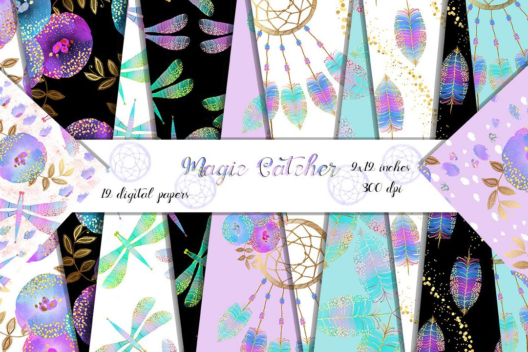 Dream catcher digital papers instant download. Feathers digital paper with gold confetti, flowers, dragonflies, Gold paint papers. 12x12 example image 1