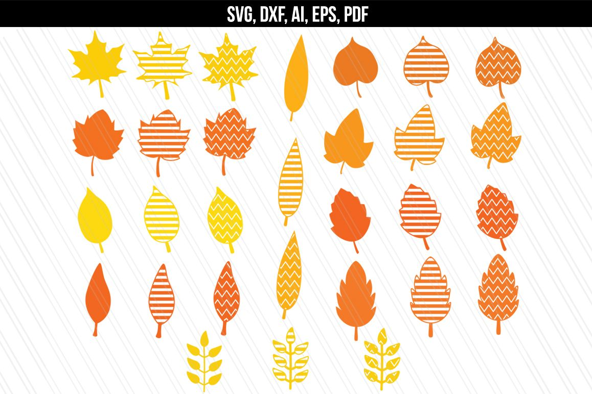 Autumn Fall leaves svg / dxf cutting files example image 1