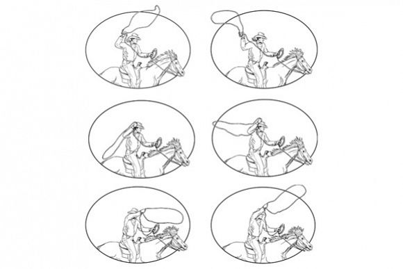 Cowboy Lasso Riding Horse Drawing Collection Set example image 1