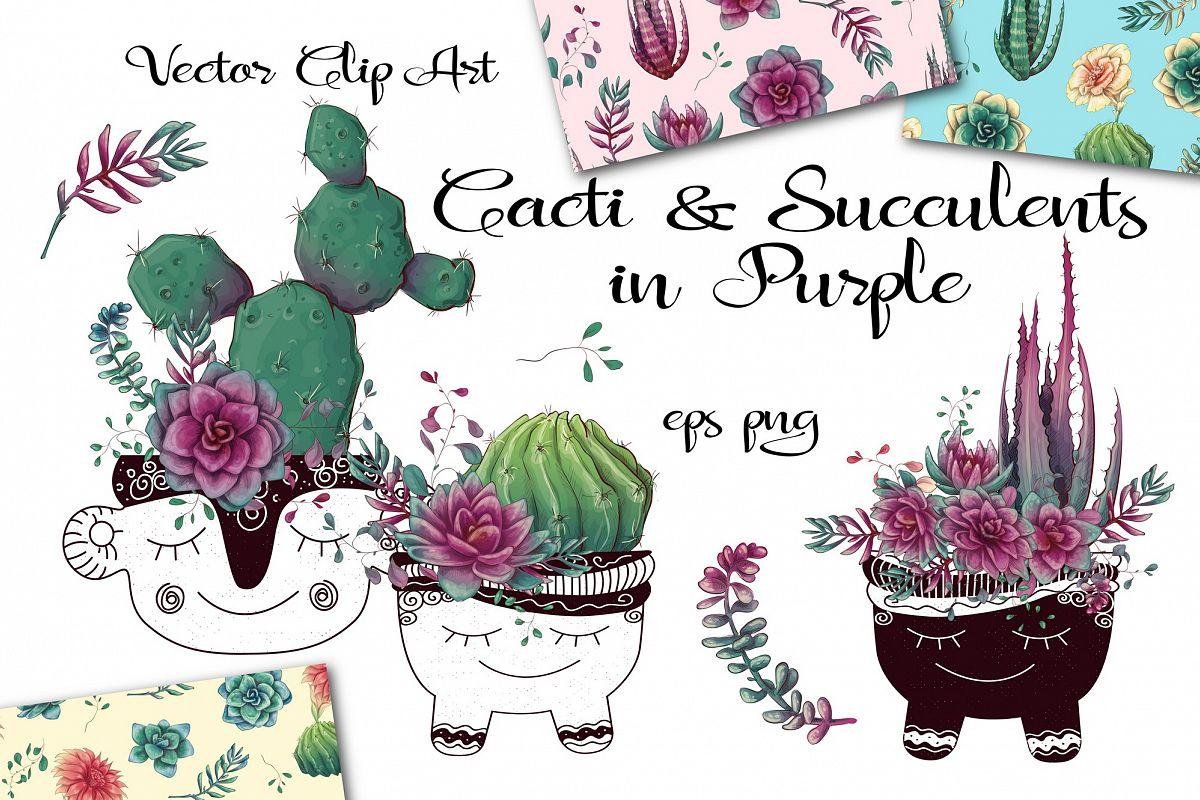 Cacti & Succulents in purple example image 1