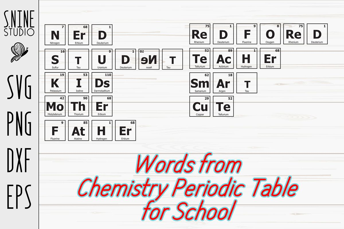 Chemistry Periodic Table Words for School SVG Cut File