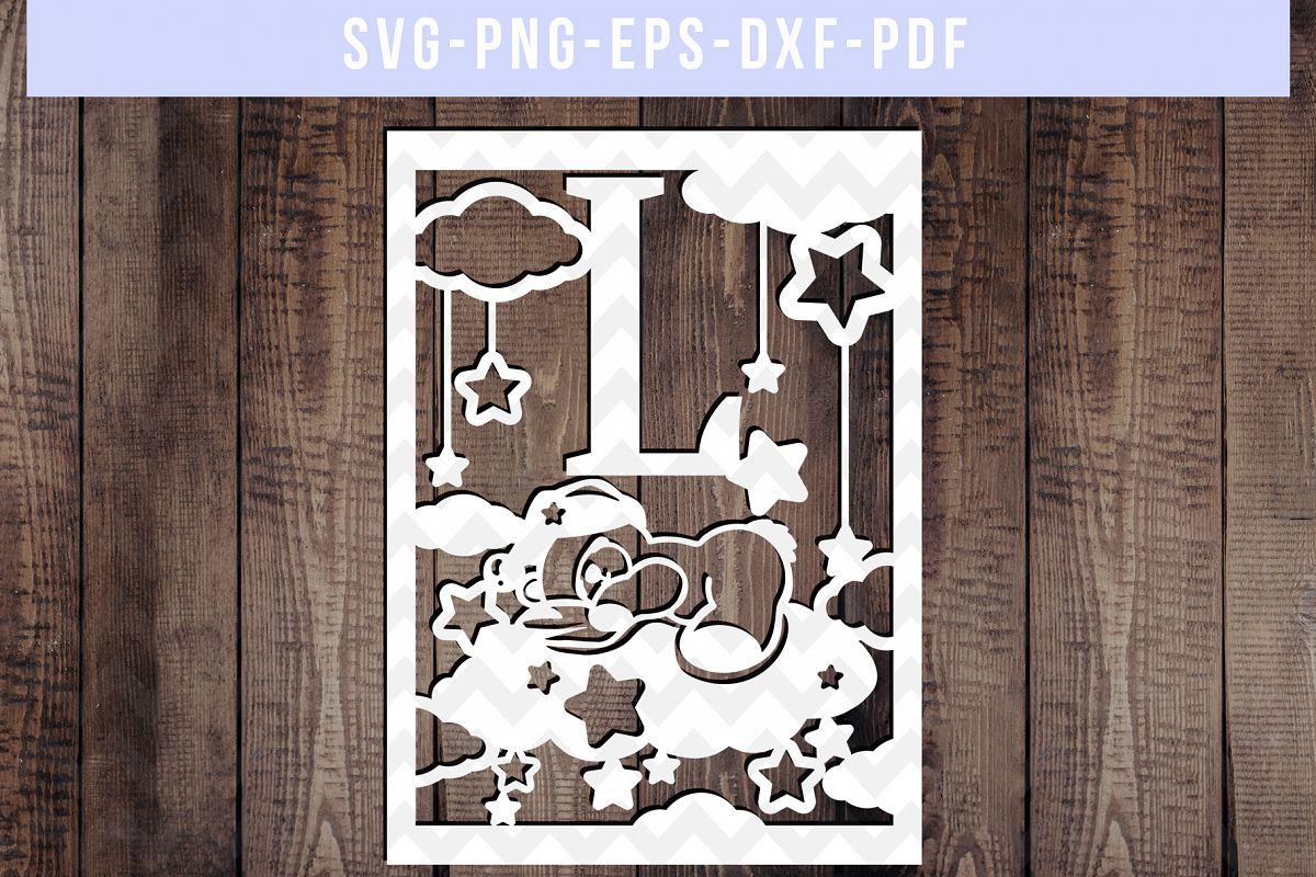 Nursery L Monogram Papercut Template, Kids Room Decor, DXF example image 1