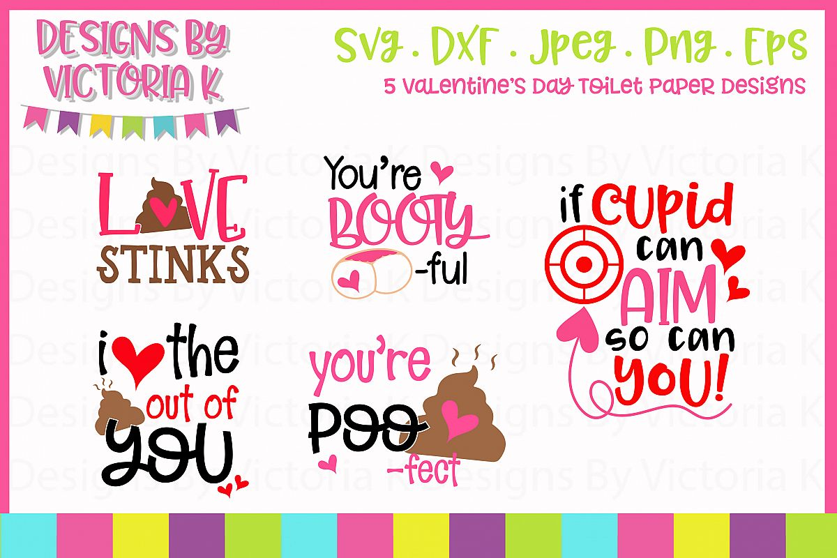 Valentine's Day Toilet Paper SVG Cut Files example image 1