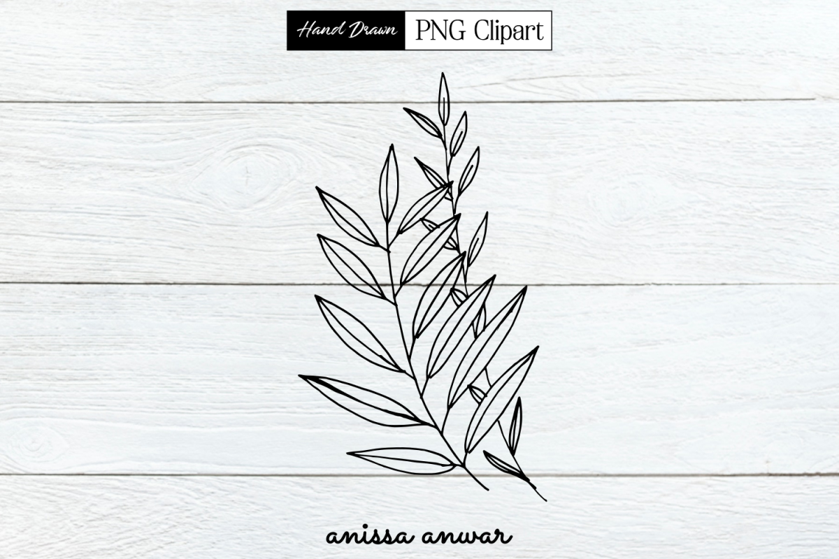 Leaves Line Art, Png Clipart, Sublimation, Printable example image 1