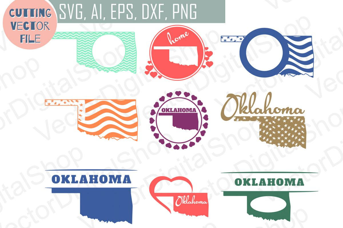 9 Monograms with Oklahoma State - cutting files, SVG, PNG, JPG, EPS, AI, DXF example image 1