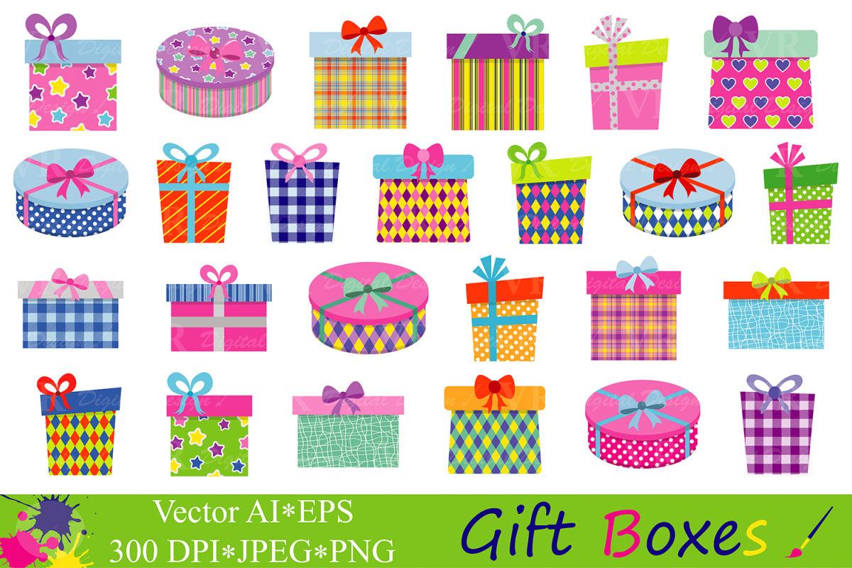 Gift Boxes Clipart Birthday Party Presents Clip Art Gifts Vector Graphics Present Illustrations
