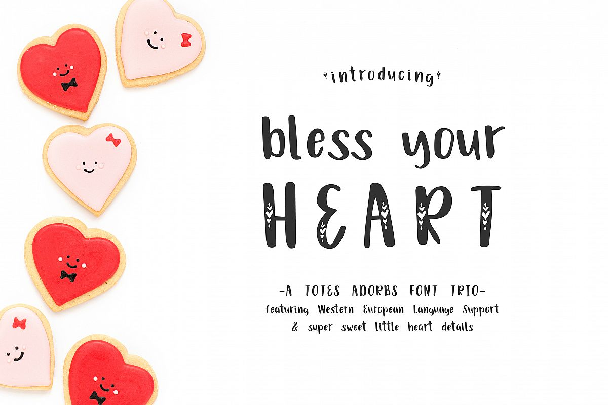 Bless Your Heart Hand Lettered Font Trio w/ Hearts example image 1