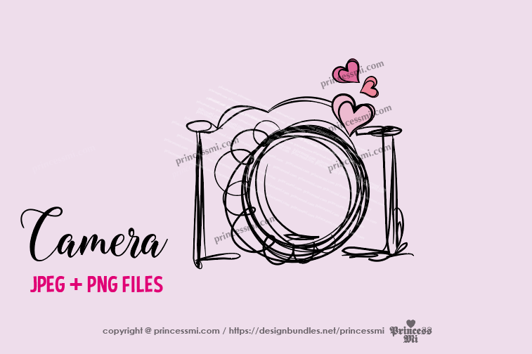 camera clipart - three little hearts example image 1