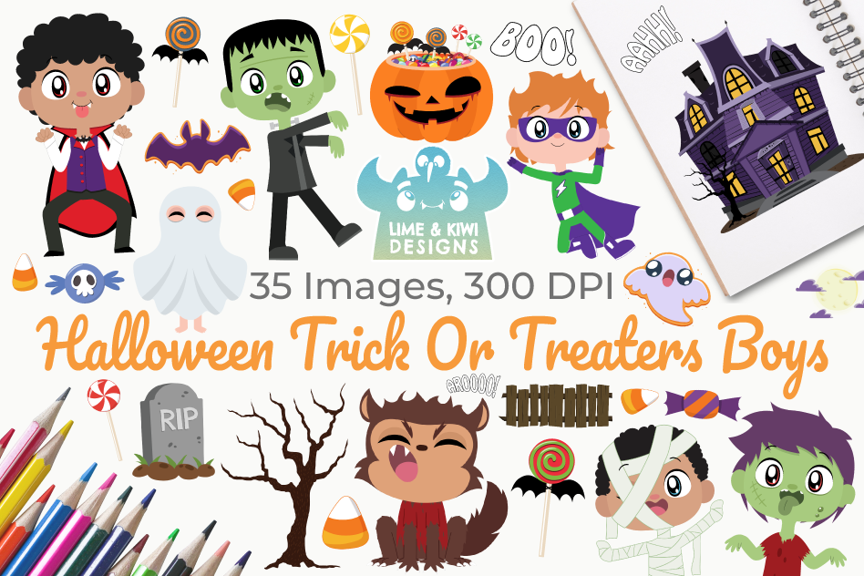 Halloween Trick Or Treaters Boys Clipart, Instant Download example image 1