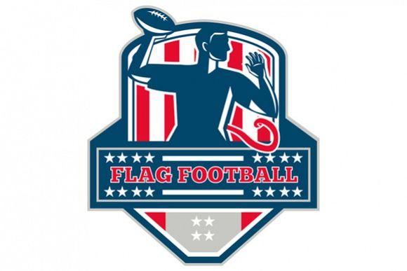Flag Football QB Player Passing Ball Crest Retro example image 1