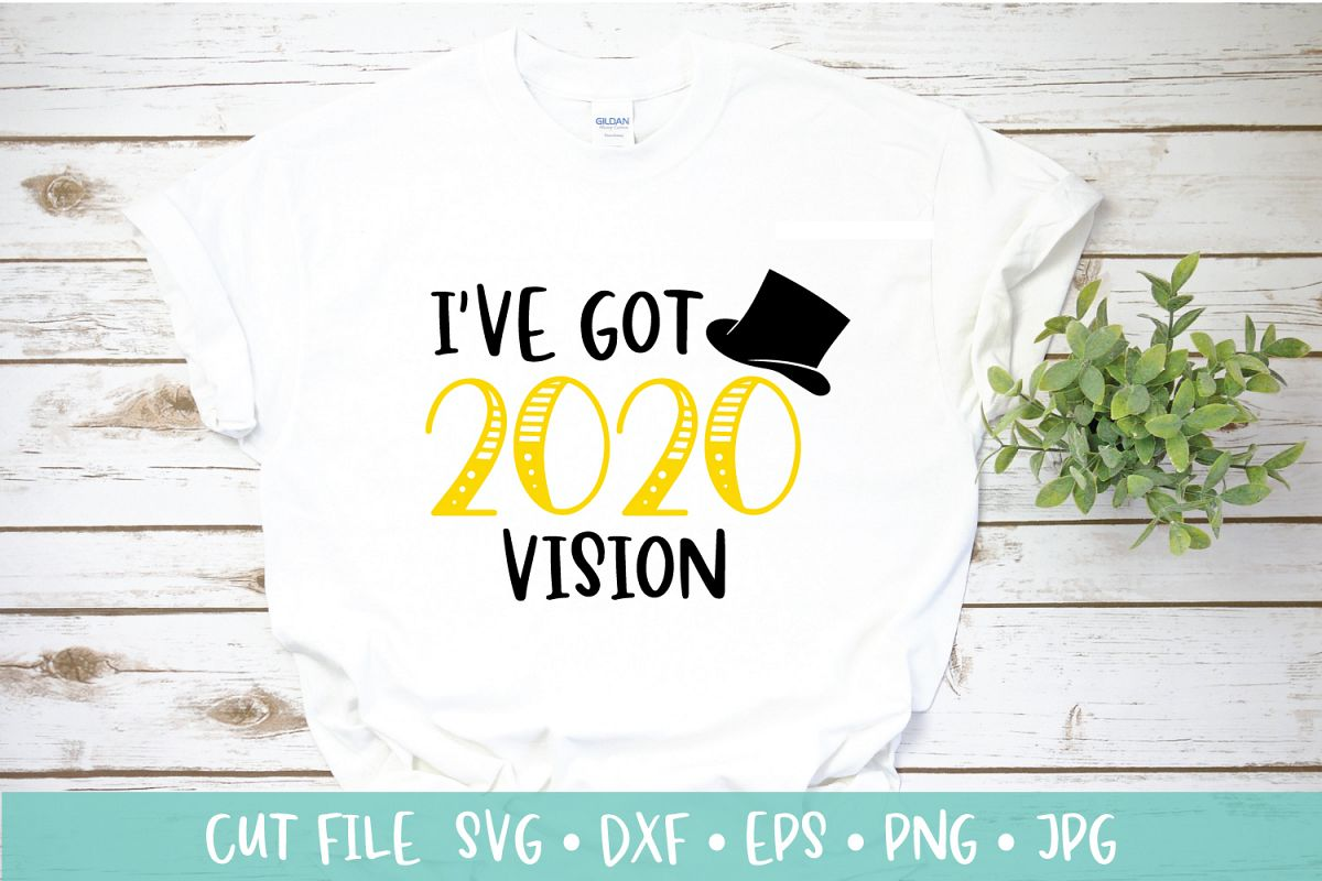 New Years 2020 Top Hat Cut File SVG DXF   New Years Eve SVG example image 1