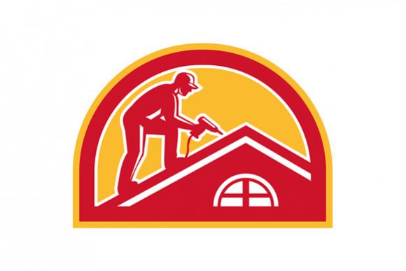 Roofer Working on Roof Half Circle Retro example image 1