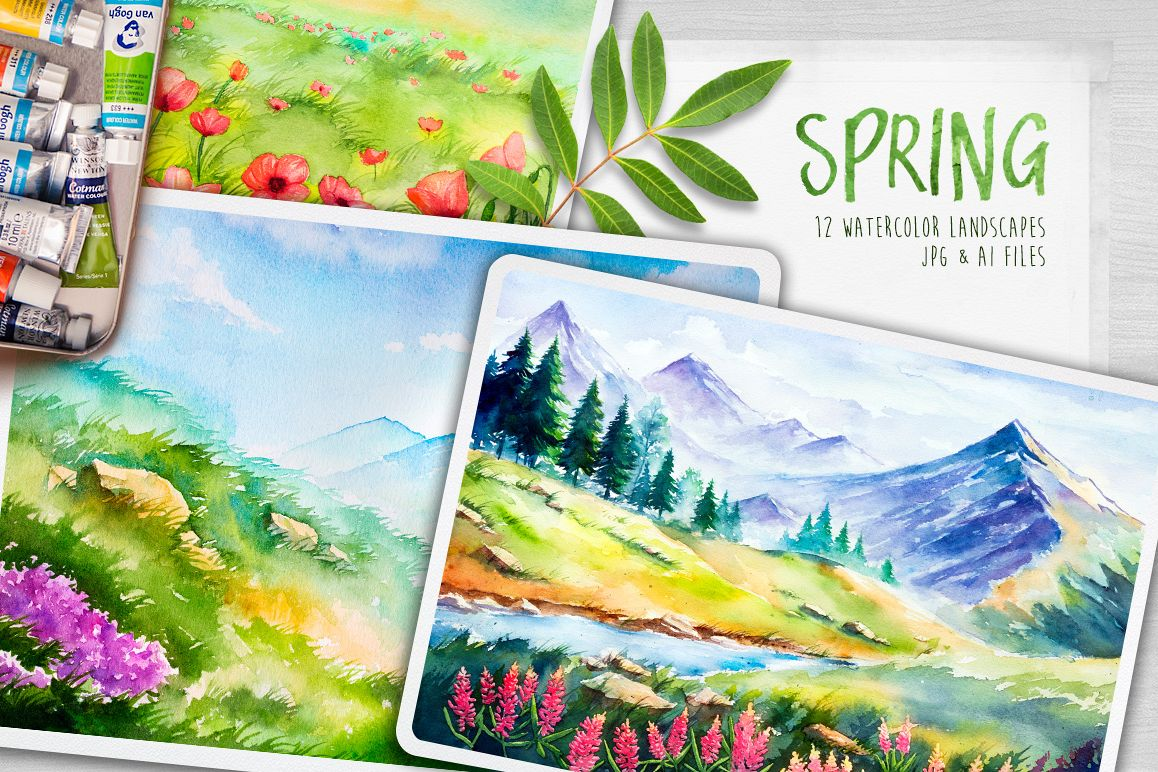Spring Landscapes. Watercolor. example image 1