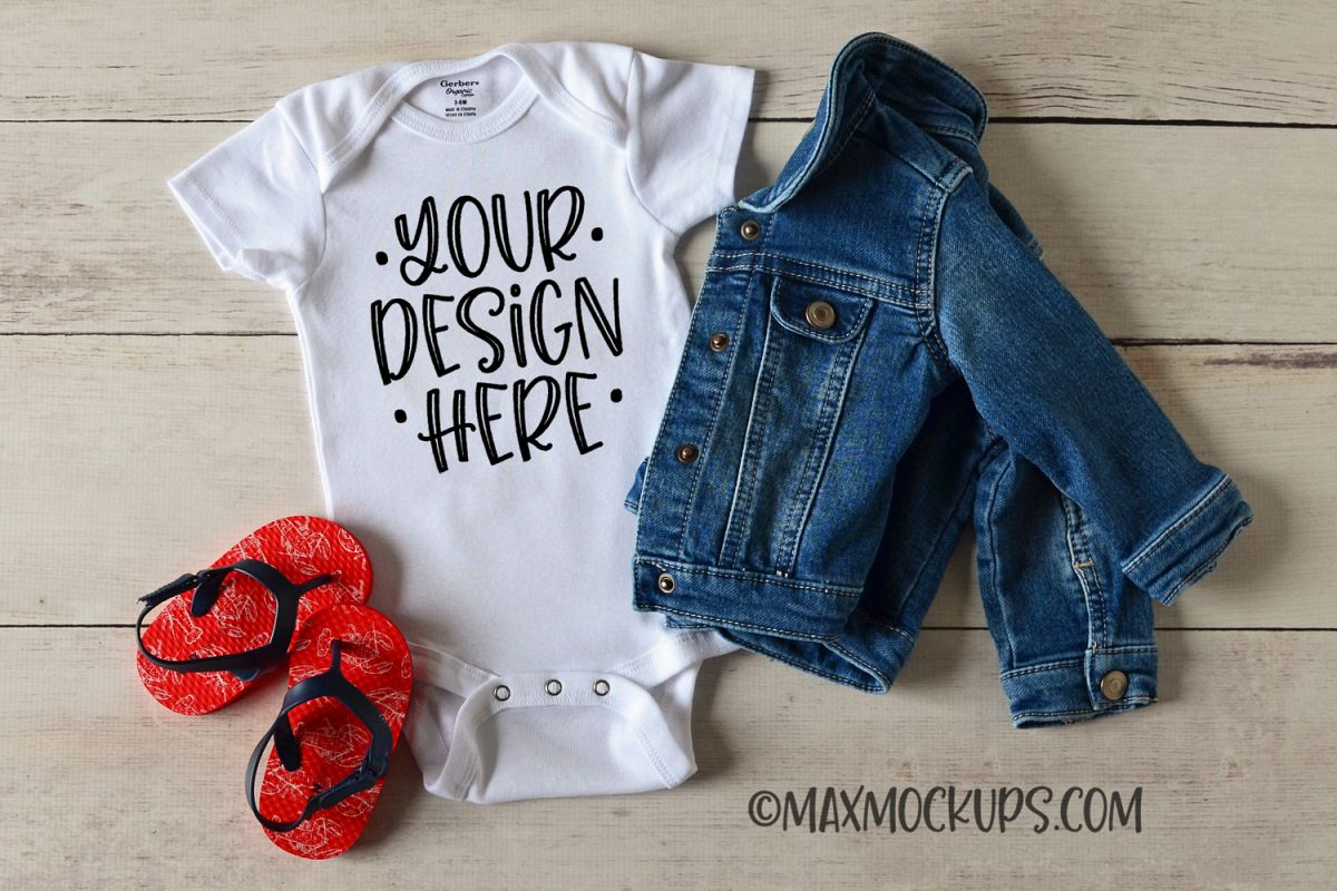 White baby bodysuit mockup with jeans jacket and flipflops example image 1