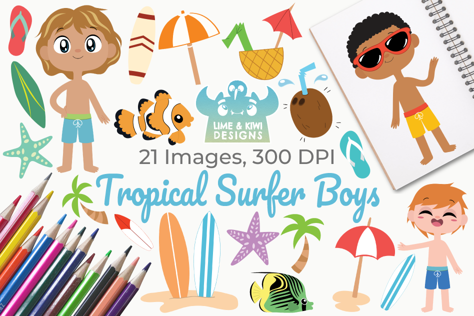 Tropical Surfer Boys Clipart, Instant Download Vector Art example image 1