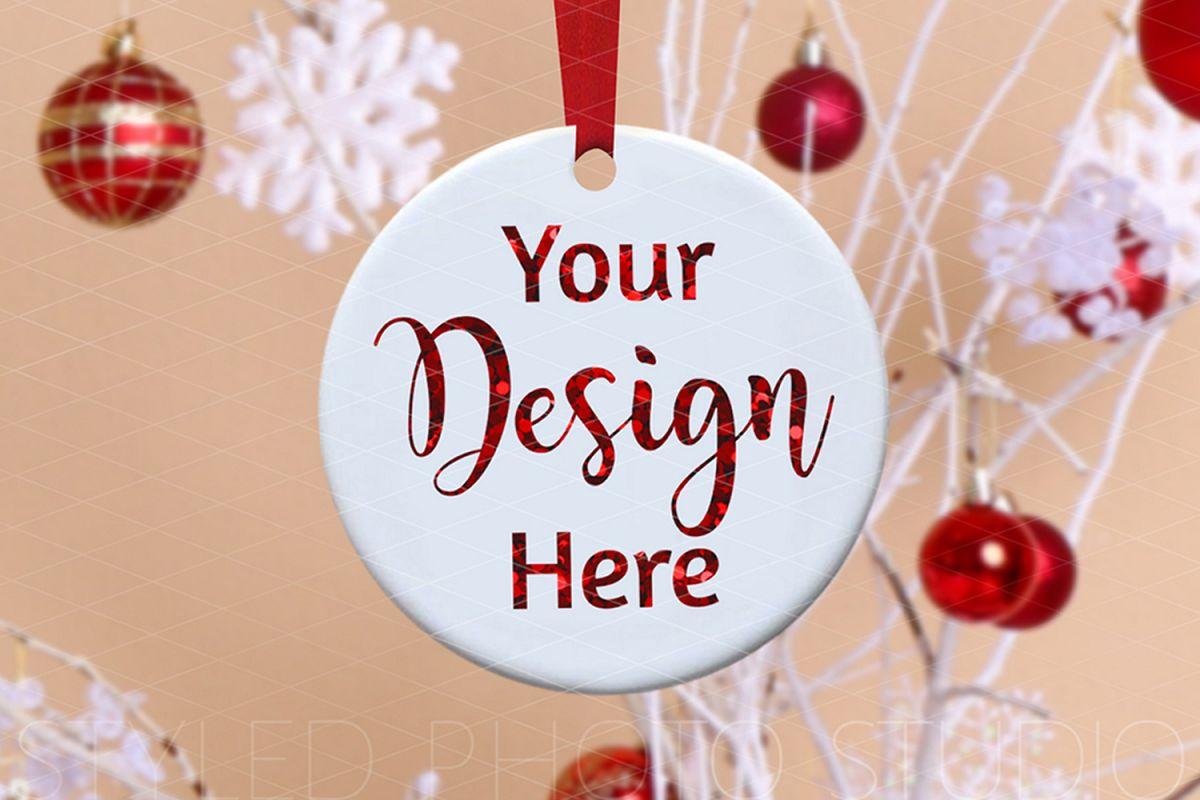 Round Ceramic Christmas Ornament Mockup Farmhouse Retro? example image 1