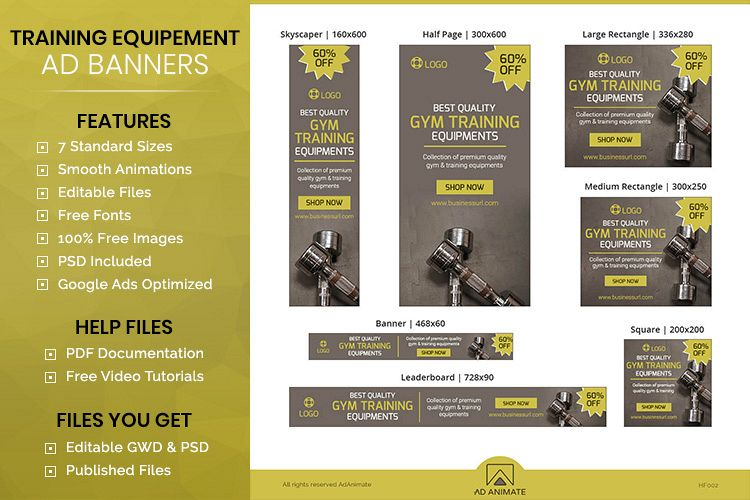 Training Equipment Animated Ad Banner Template - HF002