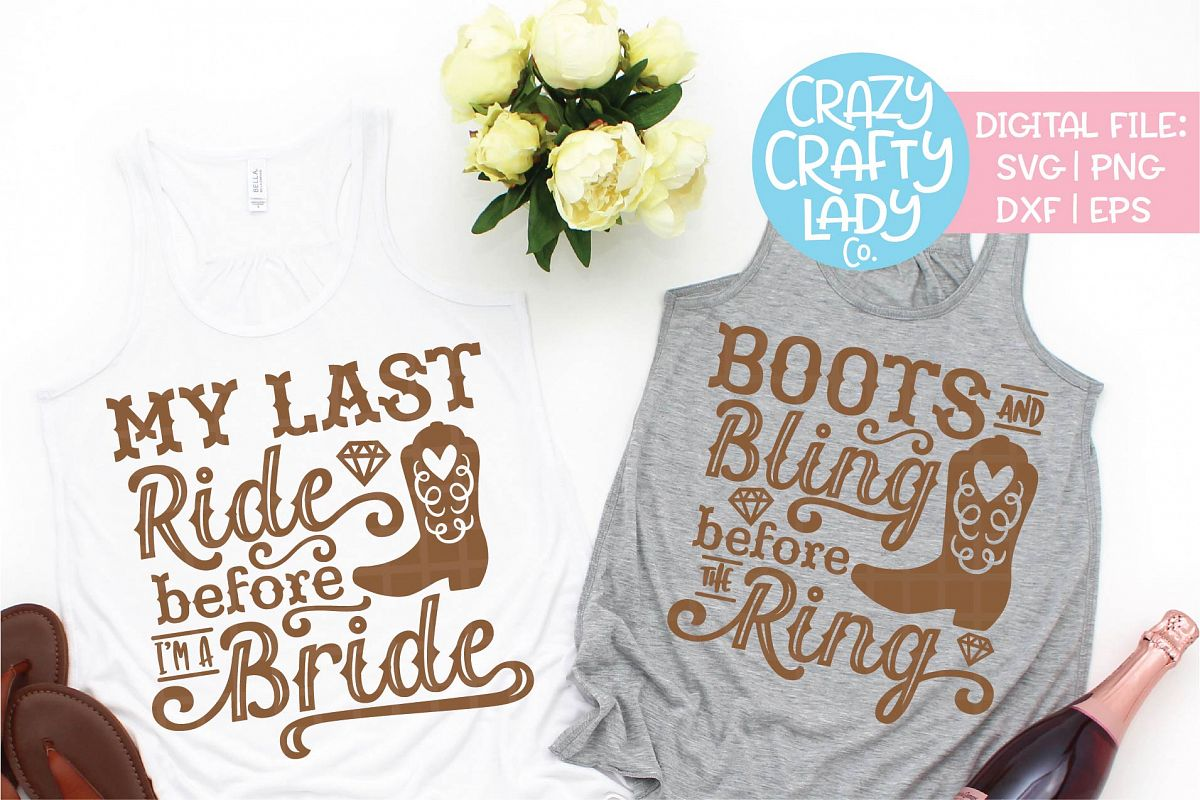 Cowgirl Bachelorette SVG DXF EPS PNG Cut File Bundle example image 1