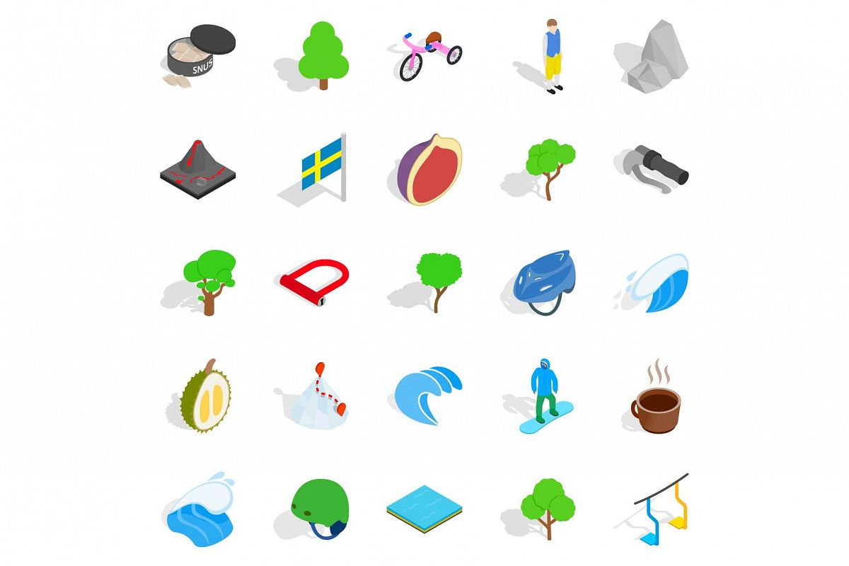Camping in nature icons set, isometric style example image 1