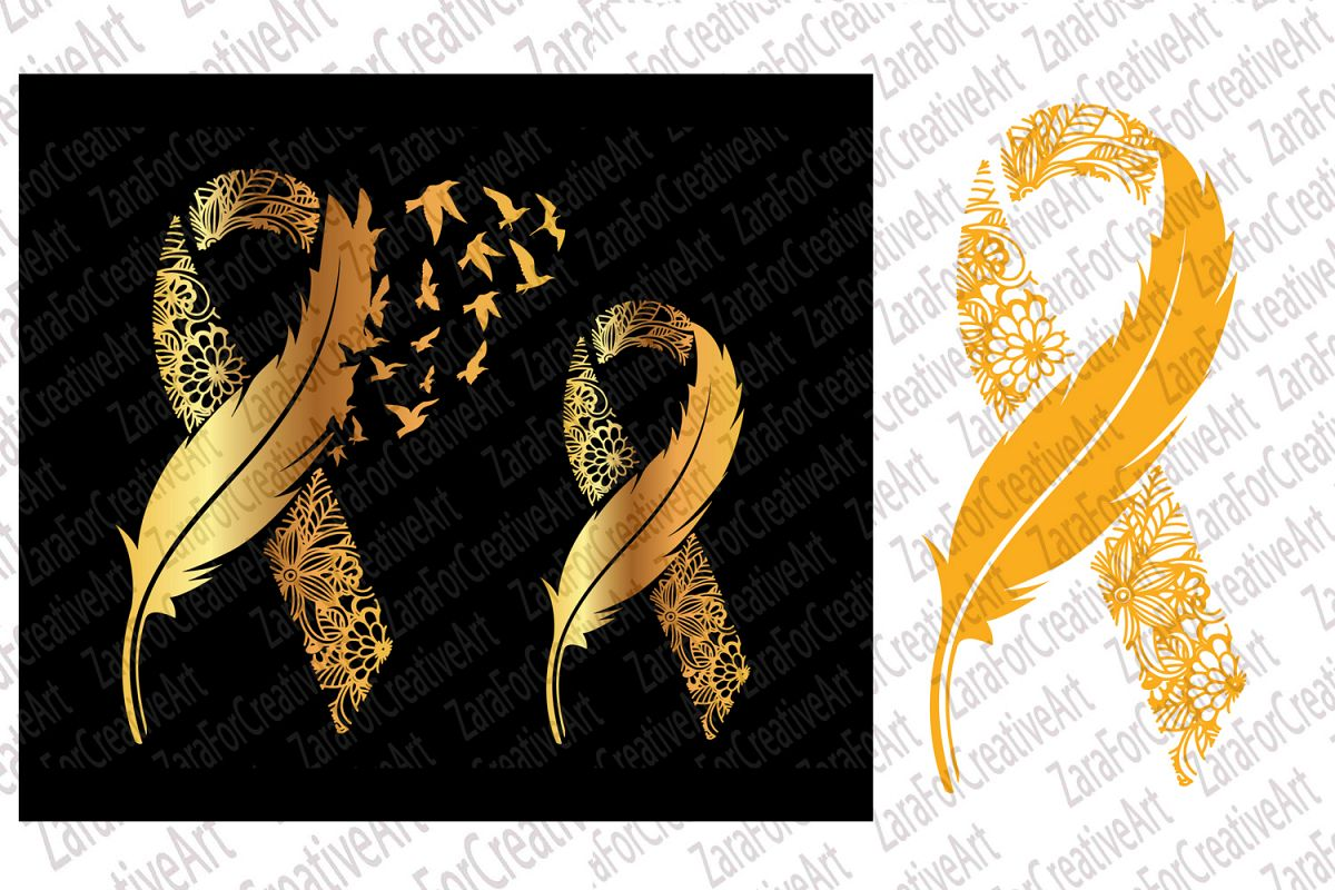 Childhood Cancer svg gold Ribbon Feather and Birds SVG example image 1