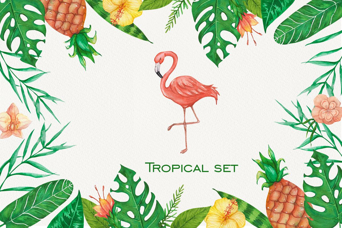 Tropical set of watercolor elements with flamingo example image 1
