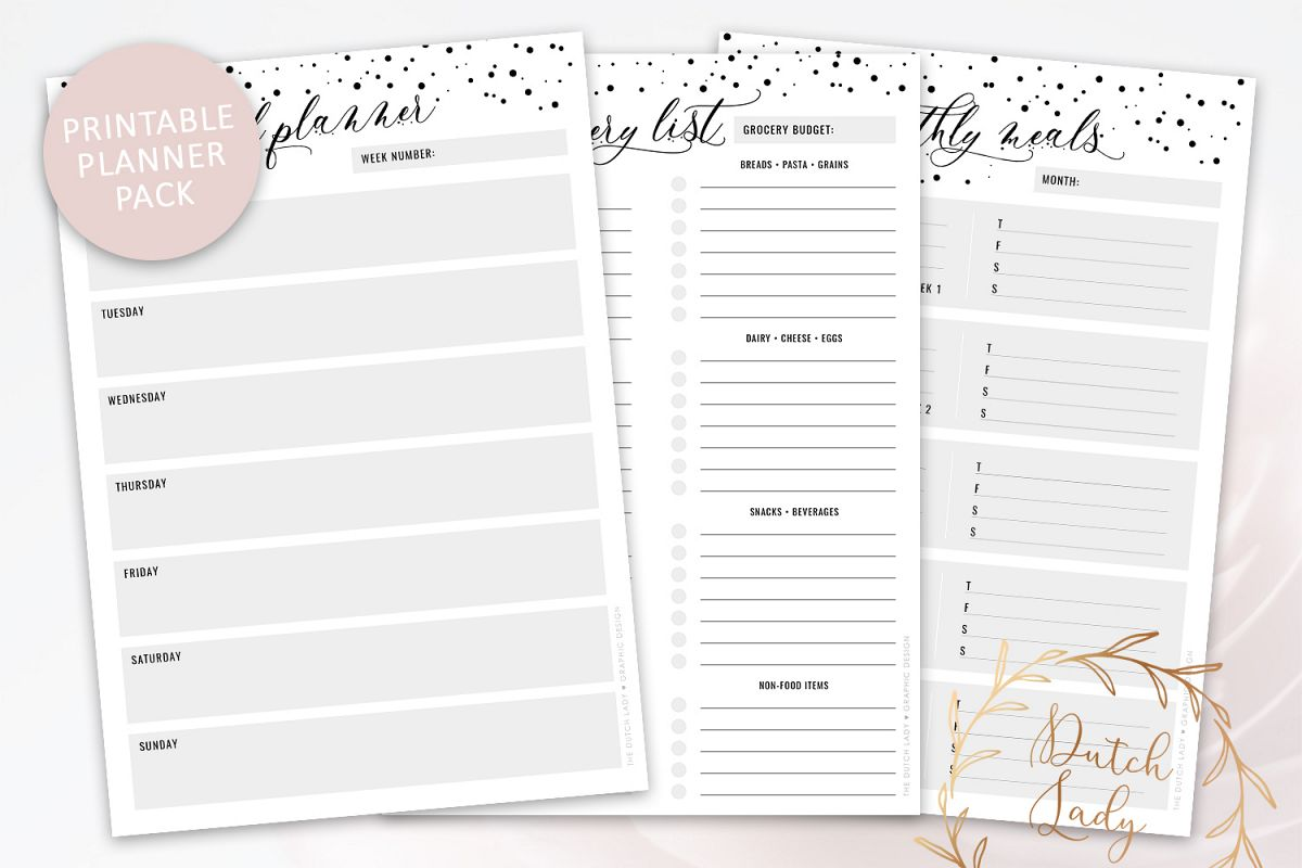 photo relating to Printable Meal Plan known as Printable Dinner Method Grocery Checklist - Planner Pack - Polkadot