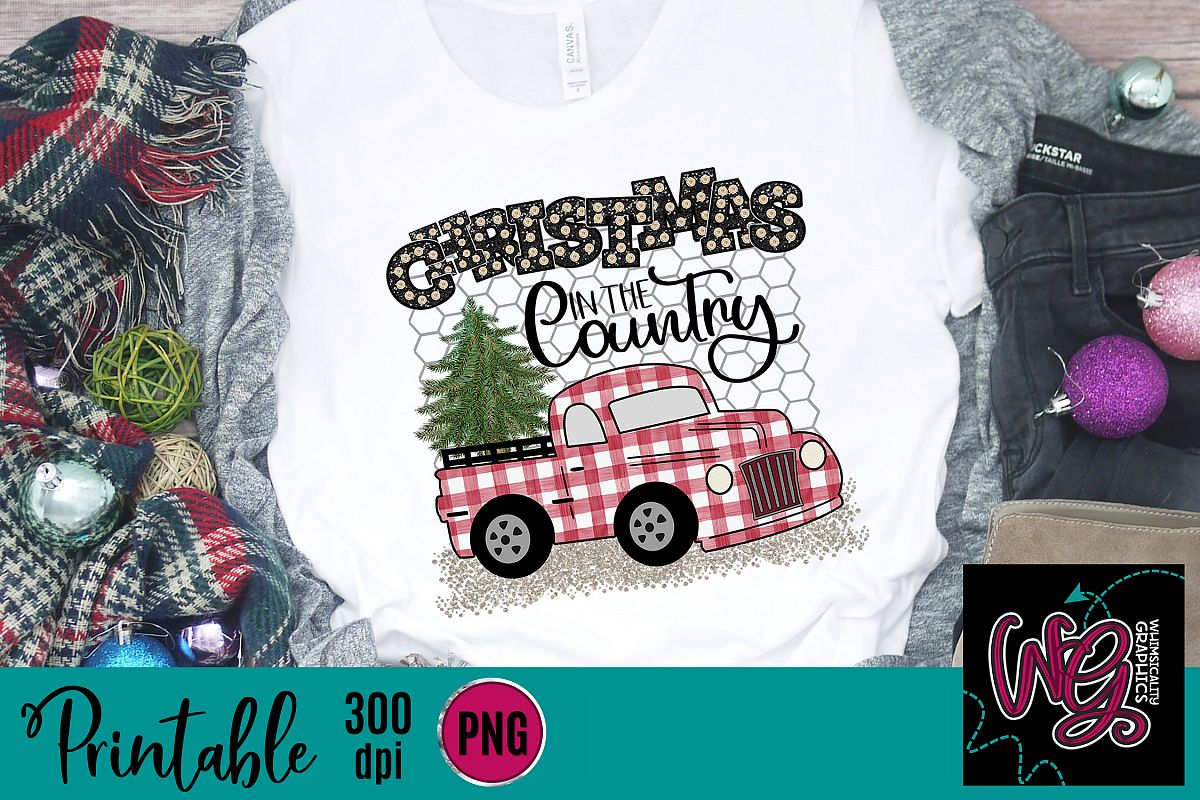 Christmas in the Country Plaid Truck Sublimation Printable example image 1