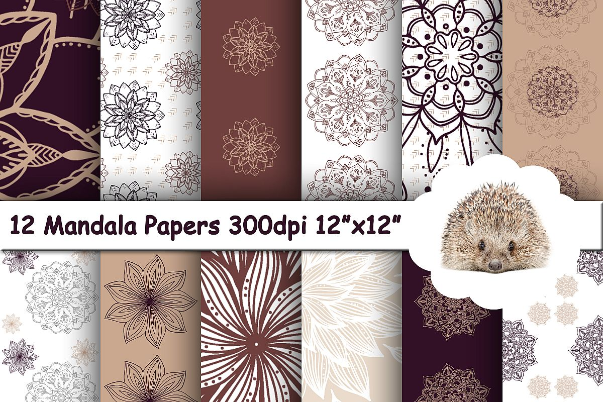 12 Mandala Flowers Paper, Geometric Background Pattern example image 1