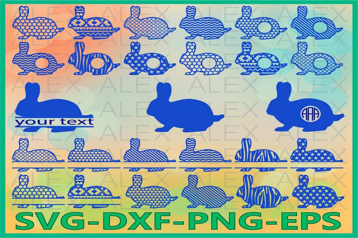 Rabbits Svg, Easter Bunny Monogram Frames, Rabbits Monogram example image 1