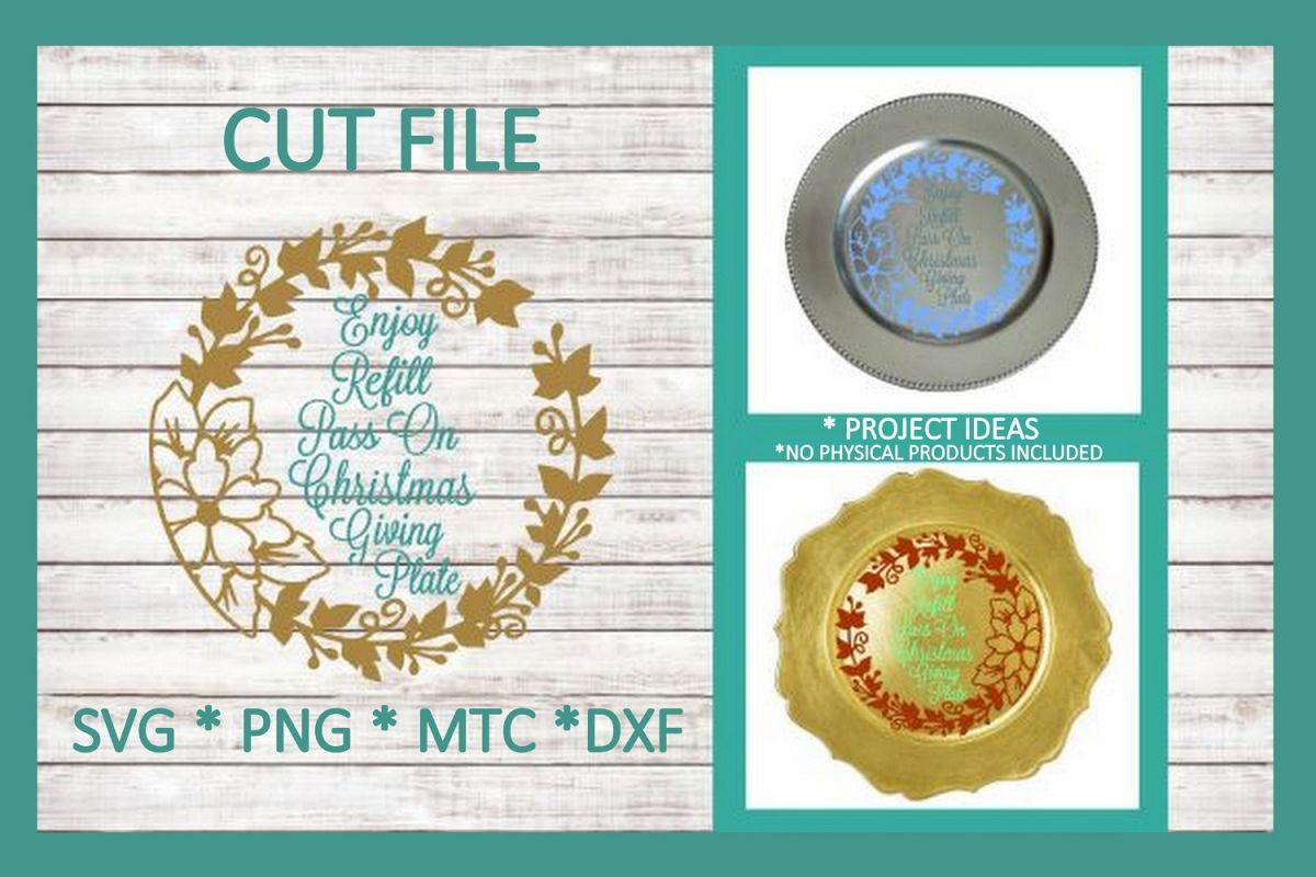 SVG Cut File Christmas Giving Plate Design #08 example image 1