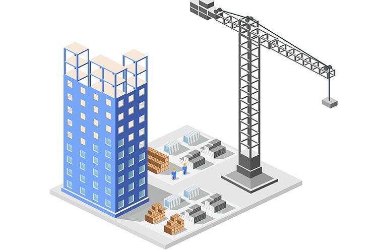 Big city skyscrapers under construction example image 1