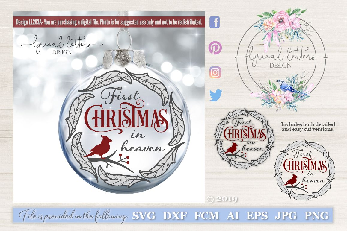 Christmas In Heaven Ornament.First Christmas In Heaven Cardinal Svg Dxf Fcm Ll263a