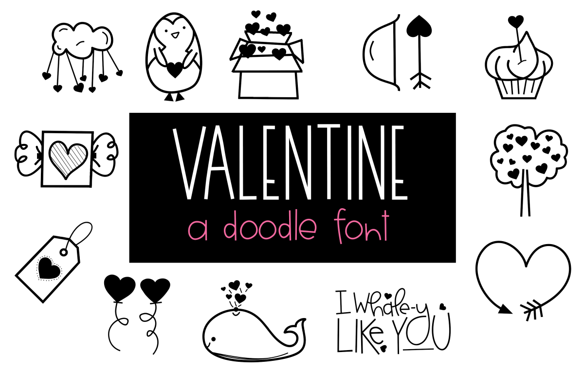 Valentine - Valentine's Day Doodle Font  example image 1
