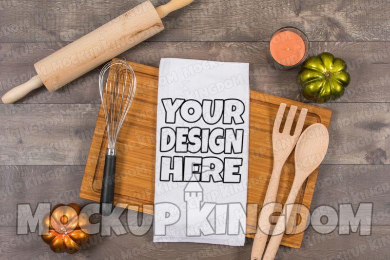 Kitchen Towel Mockup, Flour Sack Towel Mockup, Blank Towel example image 1