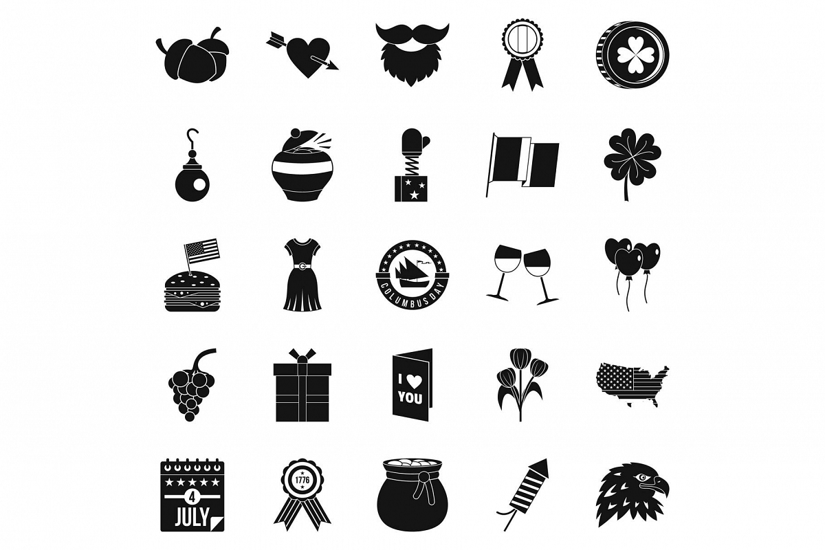 Almanac icons set, simple style example image 1