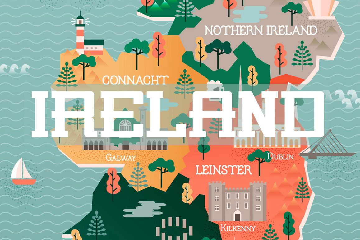 Map Of Ireland Major Cities.Flat Vector Illustration With Stylized Travel Map Of Ireland The