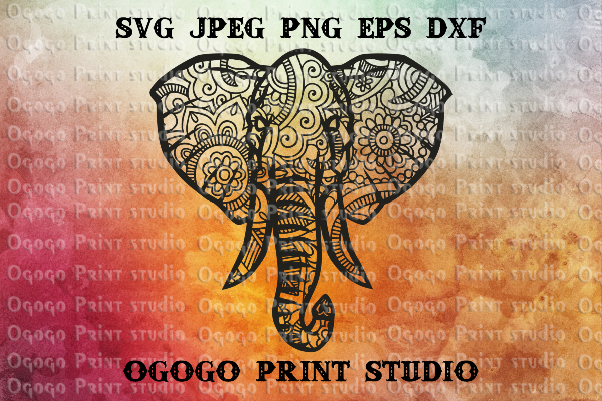 Mandala style Elephant SVG, Zentangle Svg, Animal svg example image 1