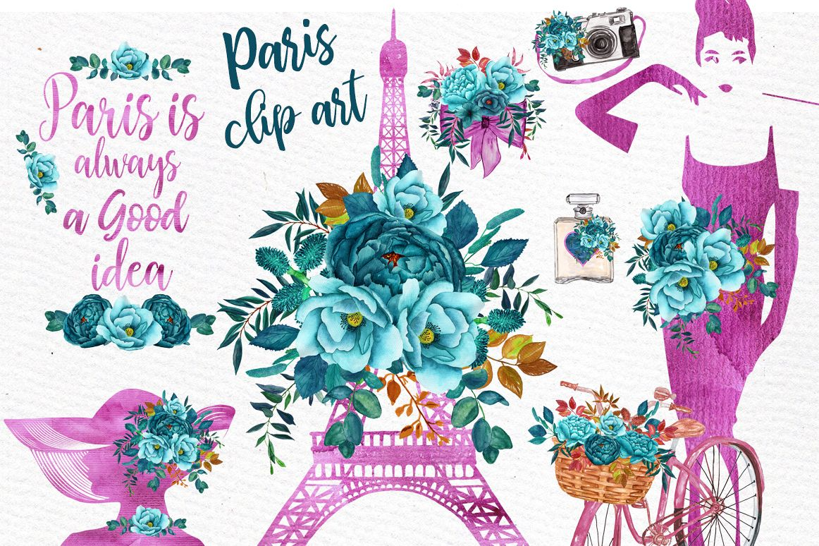 Paris Watercolor clipart WATERCOLOR FLOWERS Eiffel tower  example image 1
