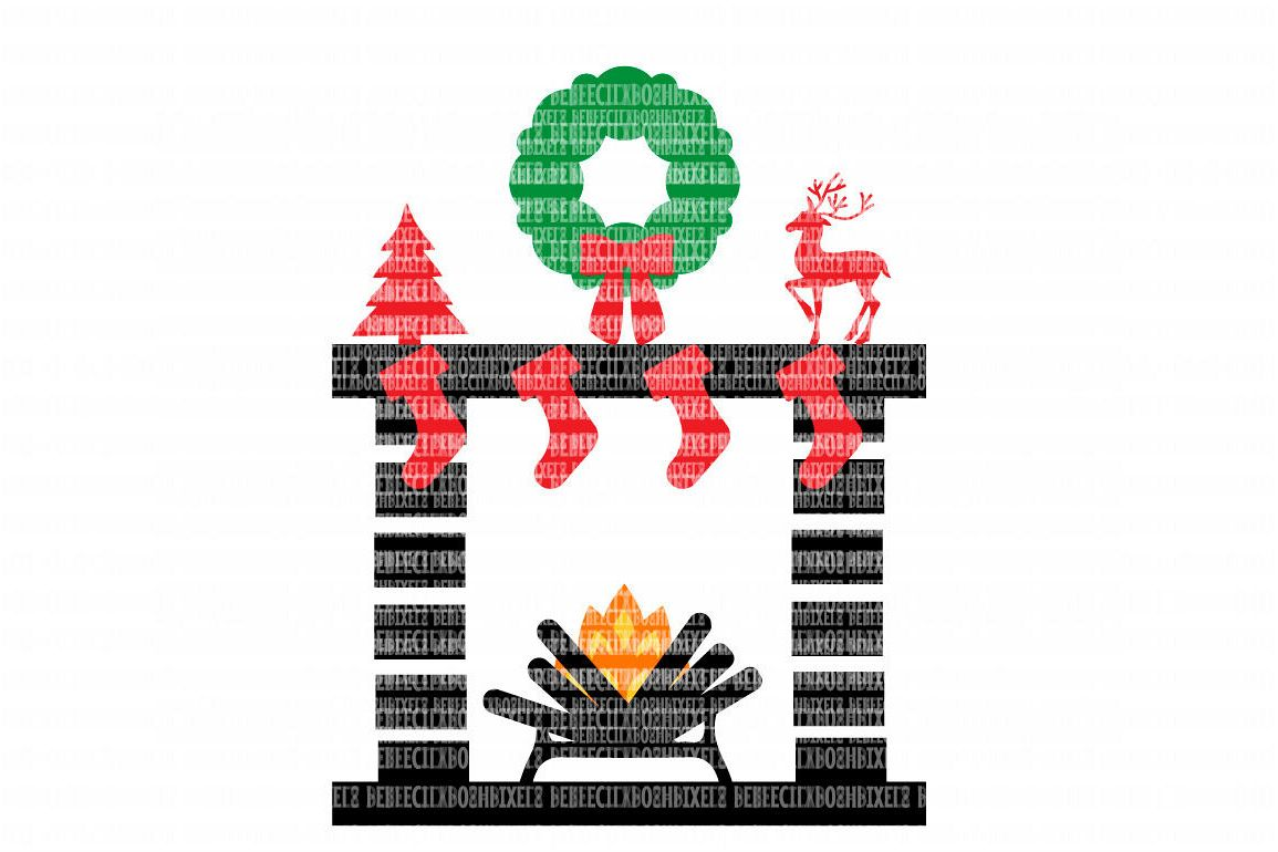 Christmas Mantel Fireplace SVG Files for Silhouette Cameo and Cricut ...