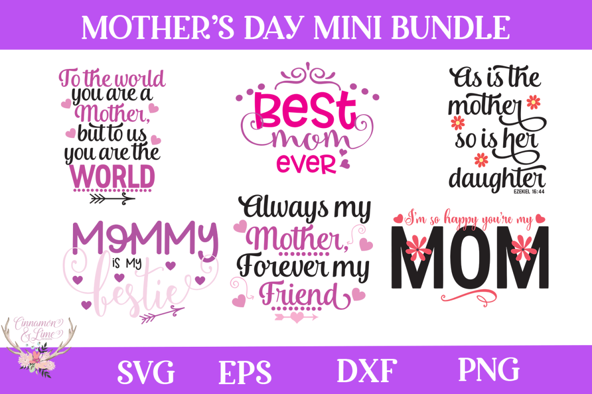 Mother's Day Bundle SVG example image 1