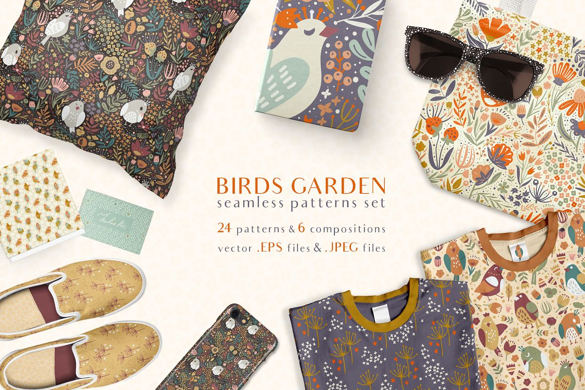 Birds Garden - Seamless Patterns Set example image 1