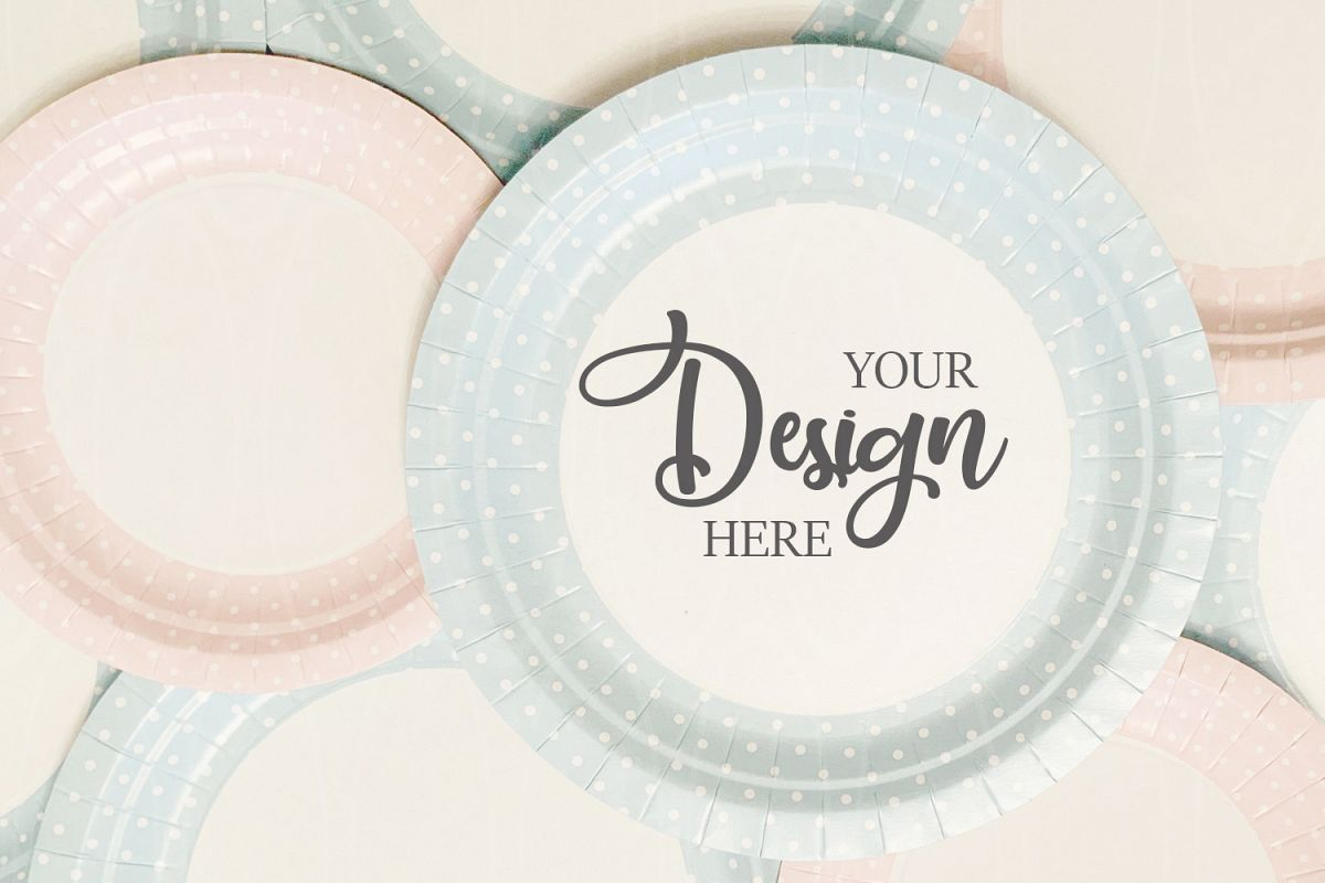 Styled Photo Product Blue and pink plates mockup example image 1