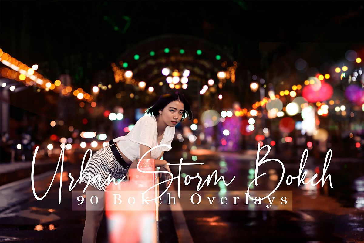 90 Urban Bokeh and lights Effect Photo Overlays example image 1