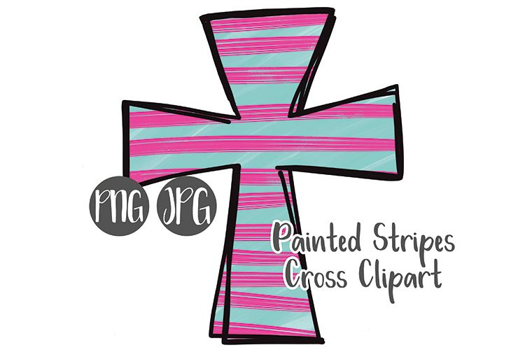 Hand Drawn Easter Cross Clipart - Painted Stripes #4 example image 1