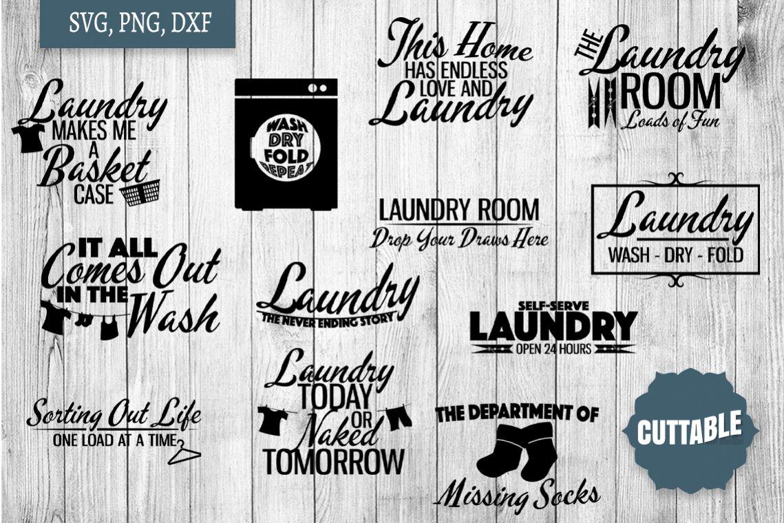 Laundry SVG bundle, Laundry cut file bundle, Home quote SVGs example image 1
