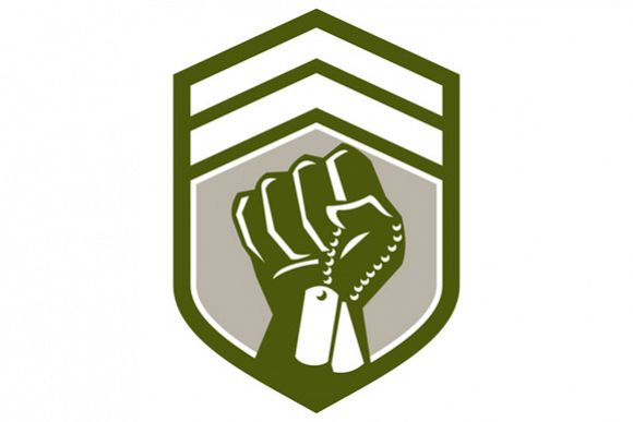 Clenched Fist Dogtag Crest Retro example image 1