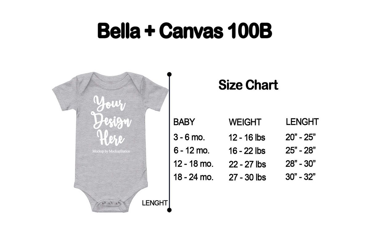 Size Chart for Bella Canvas 100B Baby Bodysuit Mockup example image 1