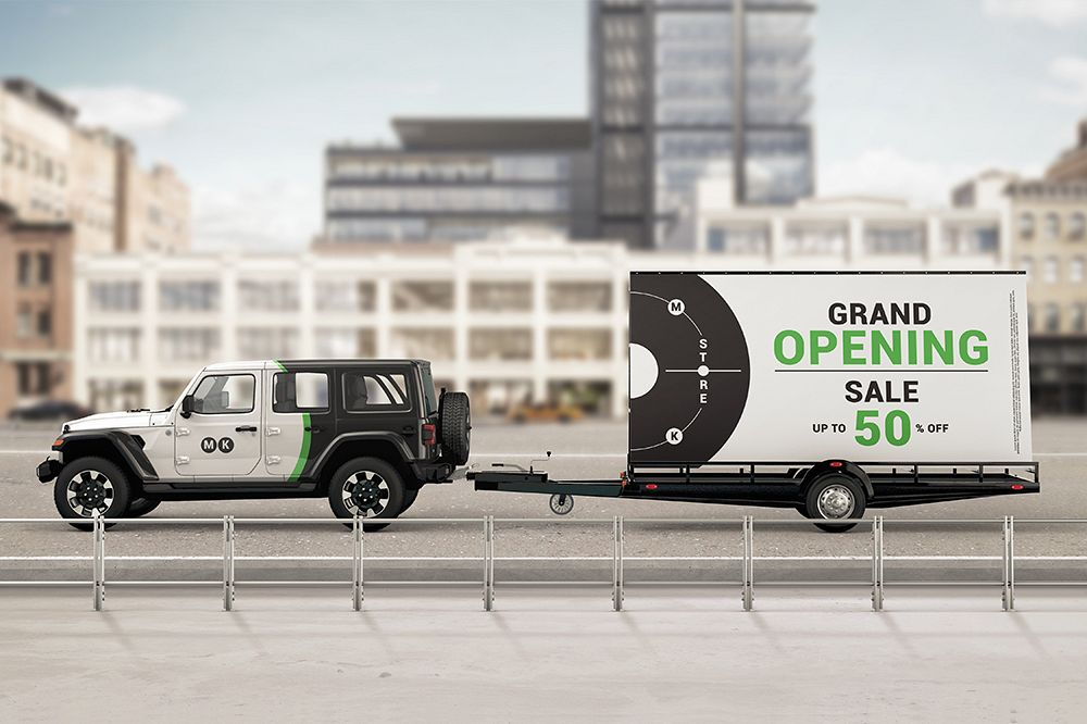 Mobile Billboard Trailer Advertising Sign Mockup
