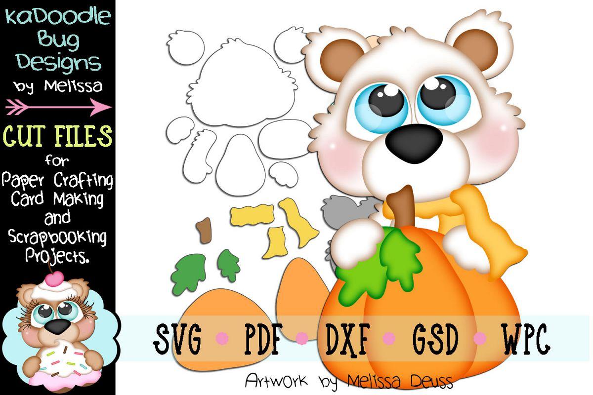 Fall S Bear Peeker Cut File - SVG PDF DXF GSD WPC example image 1